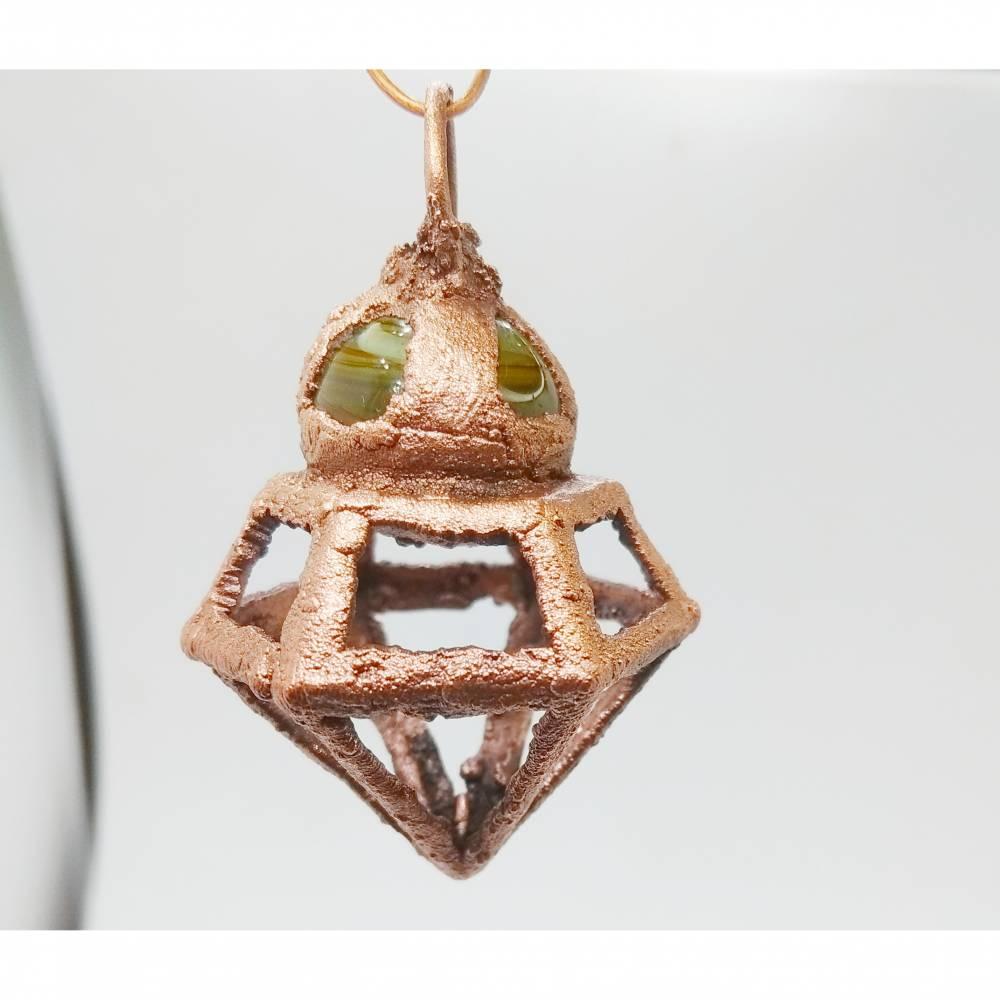 Kupferanhänger DiamantPendel mit Kugel Grün Bild 1
