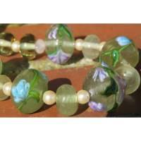 """""""Frühlingsblumen"""" Halskette in zarter Farbkomposition mit handgewickelten Glasperlen Bild 1"""