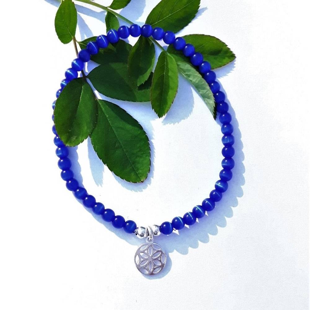Cateye-Perlenarmband in blau mit Mandala Anhänger aus 925 Silber Bild 1