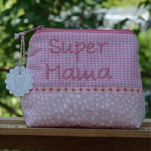 ♥️ Super Mama ♥️ Schminktäschchen  Pünktchen