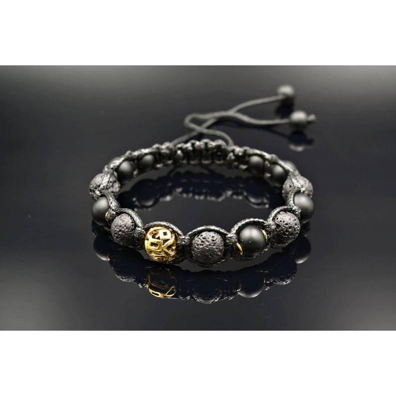 Herren Armband aus Edelsteinen Onyx und Lavastein mit Edelstahl-Perle, Makramee Armband, 10 mm Bild 1