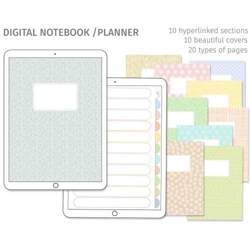 Digitales Notizbuch, Journal, Planer für Goodnotes, Eins für Alles, 10 Register, 10 Cover, passende Sticker