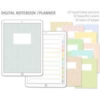 Digitales Notizbuch, Journal, Planer für Goodnotes, Eins für Alles, 10 Register, 10 Cover, passende Sticker Bild 1