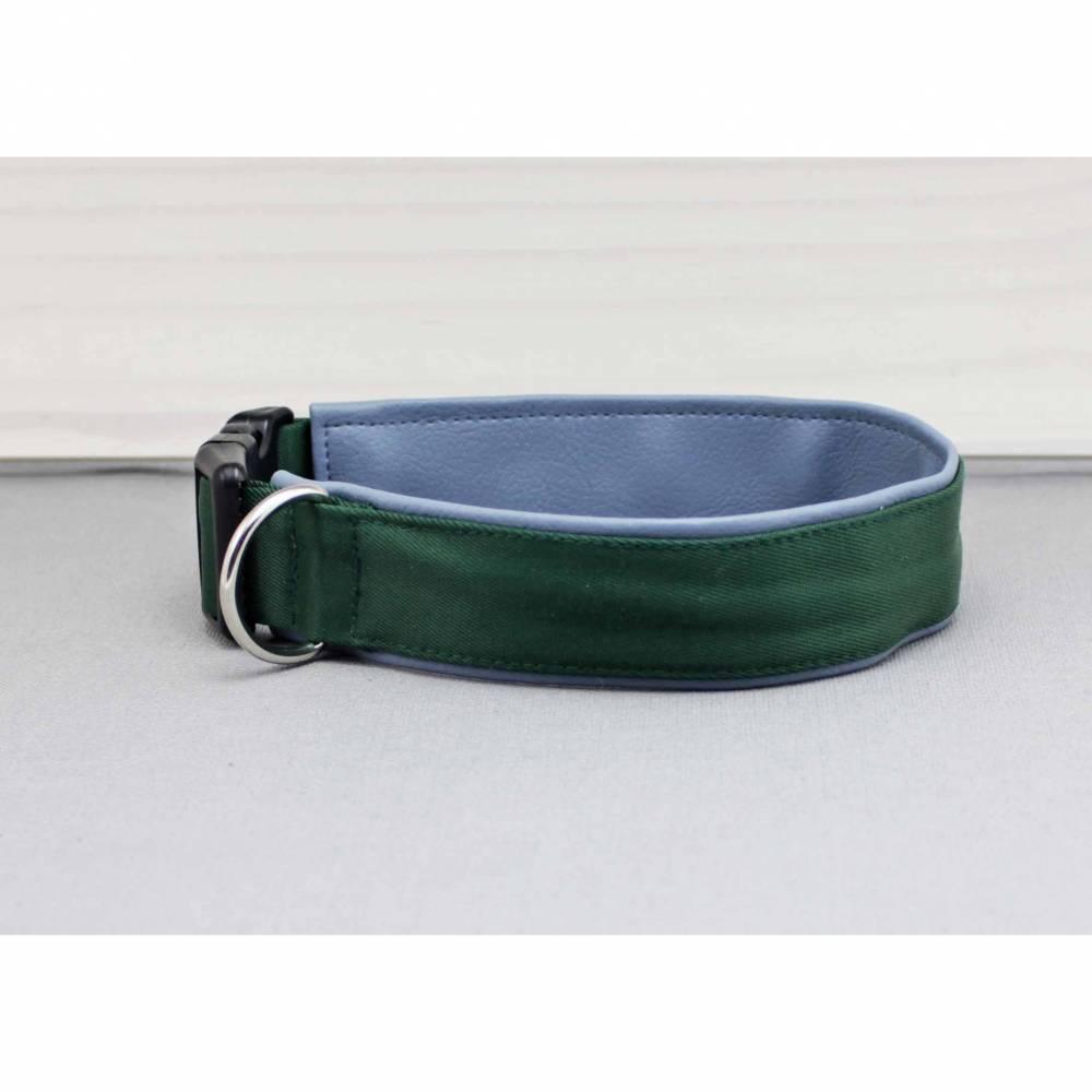Hundehalsband in dunkelgrün, mit Kunstleder in rauchblau, grün, hellblau, edel, modern, Hund, Halsband Bild 1