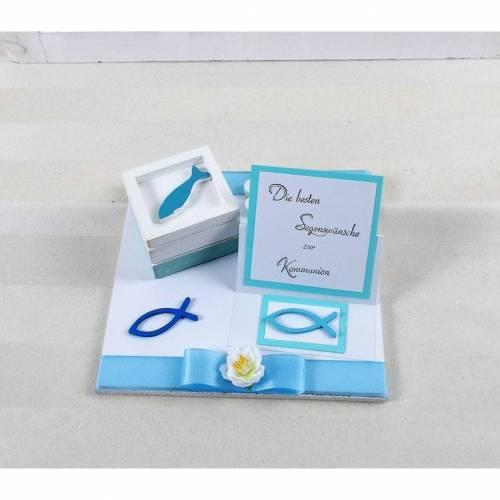 Geldgeschenk Kommunion, blau, für Jungen, Kommunionsgeschenk