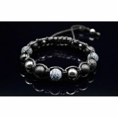 Herren Armband aus Edelsteinen Lava Onyx Achat und Hämatit mit Edelstahl-Perle, Makramee Armband, 10 mm