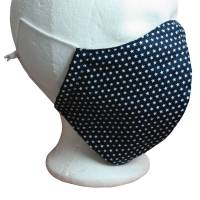 Mund Nasen Maske Behelfsmundschutz Nasenbügel Blau Sterne