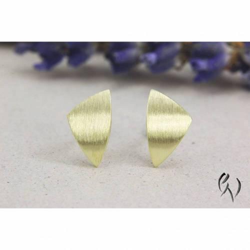 Ohrstecker Gold 585/-, kleines ungleiches Dreieck 9,5 mm, strichmatt