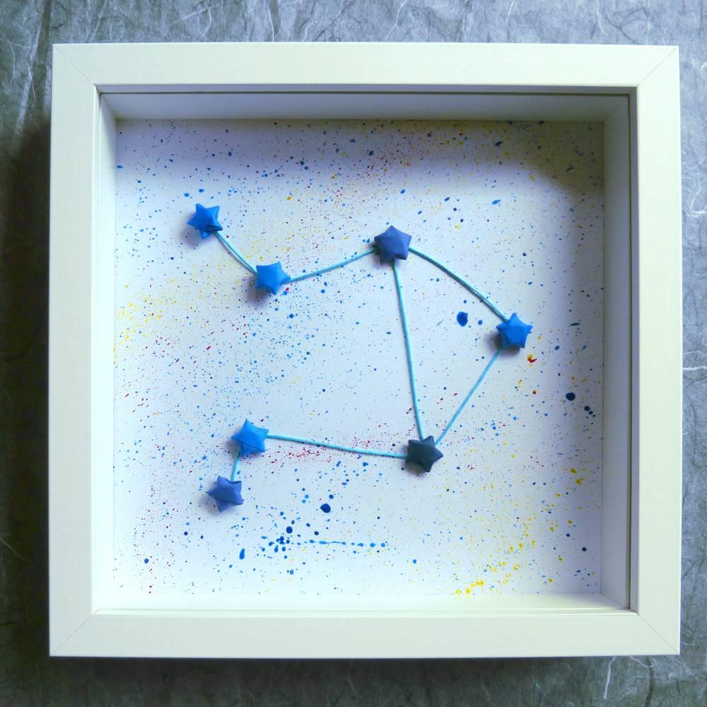Sternzeichen Waage // 3D-Wandbild aus Origami im Objektrahmen Bild 1