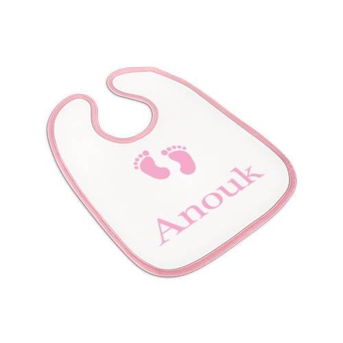 Lätzchen rosa, Babylätzchen Mädchen mit Namen, Motiv Babyfuss Bild 1