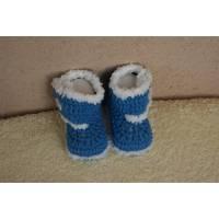 Babyschuhe ♥ Winterstiefel ♥  Handarbeit gehäkelt, Polyacryl,  hellblau-weiß   Bild 1