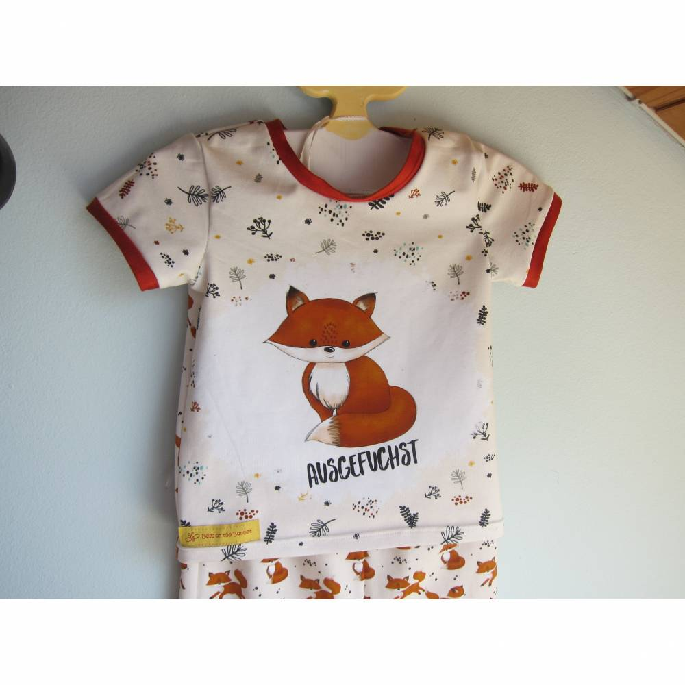 Öko Drei-teiler Baby Haremshose Fuchs Pumphose mit Dreieckstuch und Top Set in Terrakotta und creme Gr. 68 oder zu bestellen in anderen Größen Bild 1