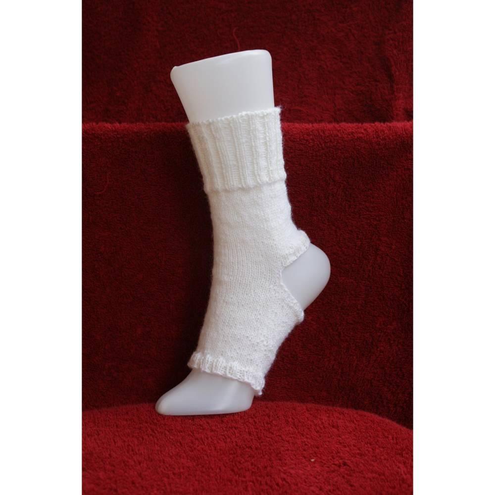 Pilates Yoga Socken ohne Ferse und Spitze, Sockenwolle weiß Bild 1