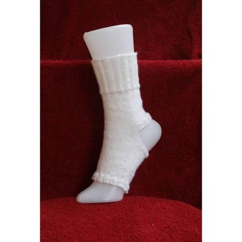 Pilates Yoga Socken ohne Ferse und Spitze, Sockenwolle weiß
