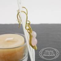 Ohrringe aus Rosenquarz und Messing ● Handgemachter Drahtschmuck Bild 1