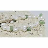 Jugendliches Armband elastisch miz echten Doppel-Perlen und Jade Bild 1