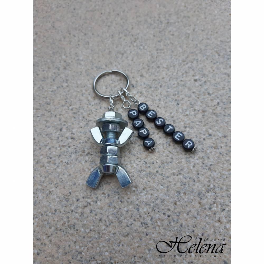 Personalisierter Schlüsselanhänger Schraubenmännchen Vatertag Geburtstag Geschenk galvanisch verzinkt Valentinstag Bild 1
