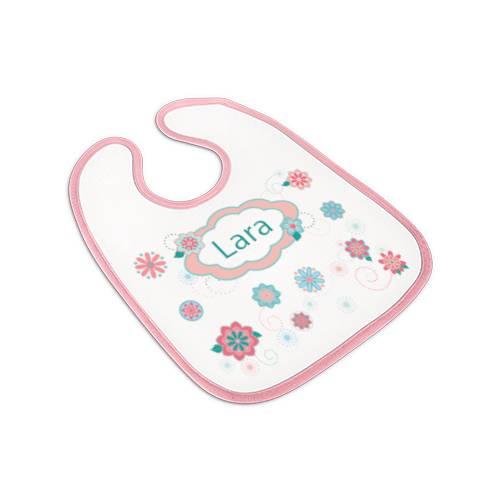 Lätzchen rosa, Babylätzchen Mädchen mit Namen, Motiv Korallen Bild 1