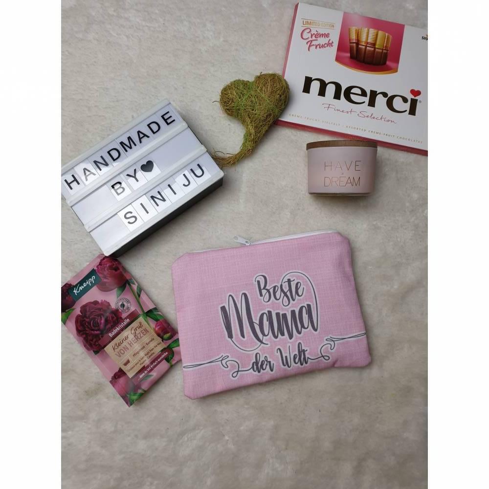 Kosmetiktasche, Krimskramtasche , Beautybag für die beste Mama der Welt Bild 1