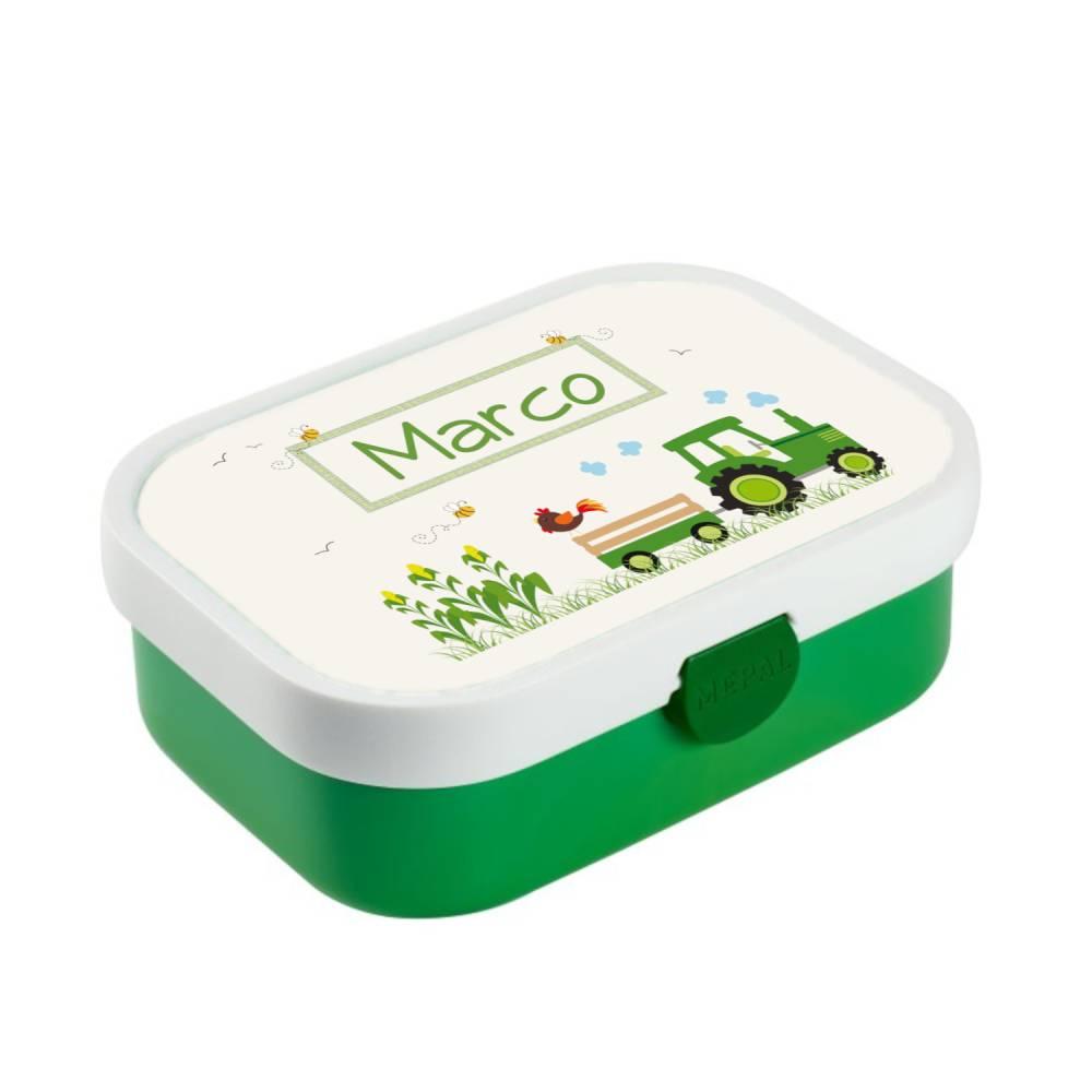 Brotdose mit Namen, Brotdose/Lunchbox für Jungen mit Obsteinsatz und Gabel, Motiv Traktor grün Bild 1