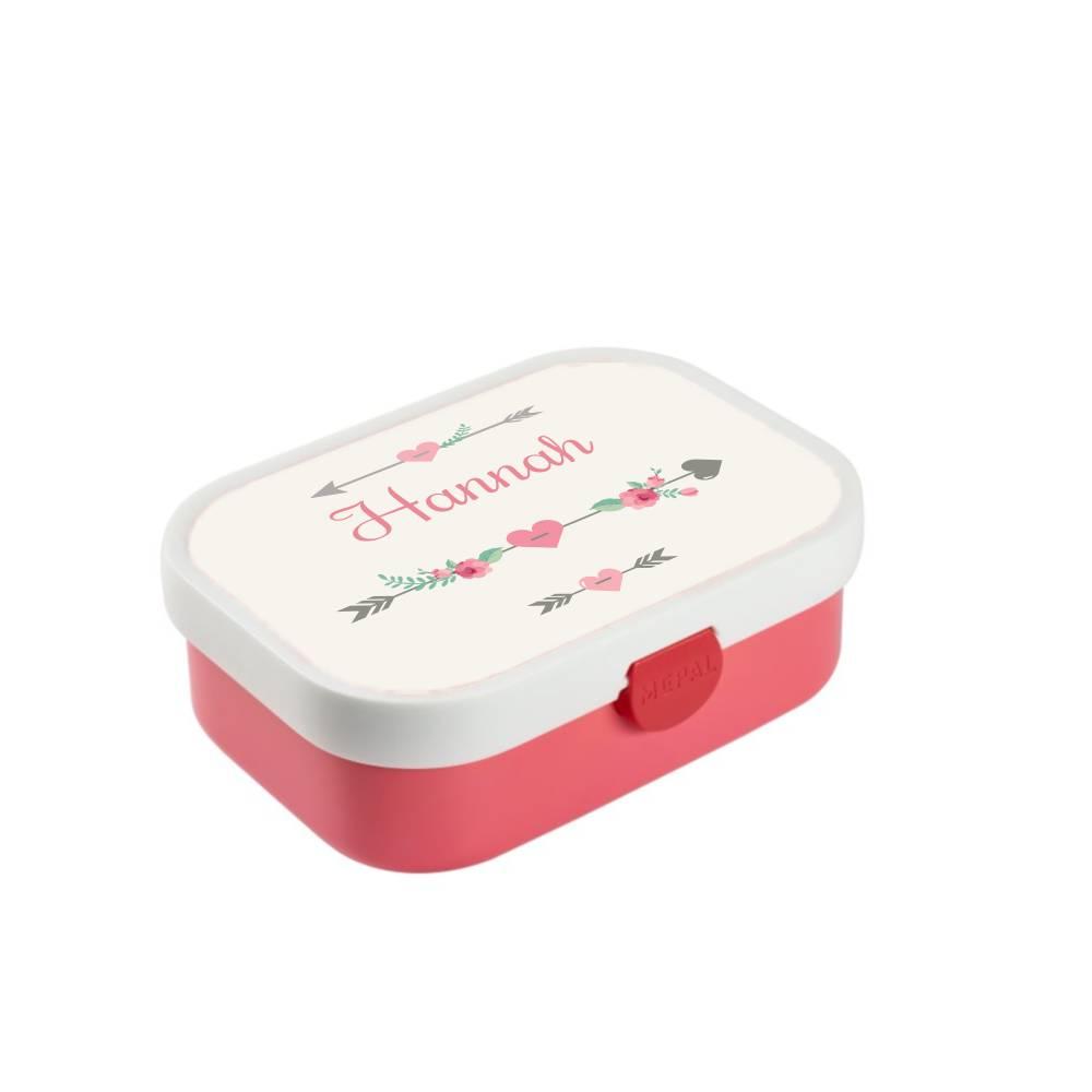 Brotdose mit Namen, Brotdose/Lunchbox für Mädchen mit Obsteinsatz und Gabel, Motiv Pfeil Bild 1
