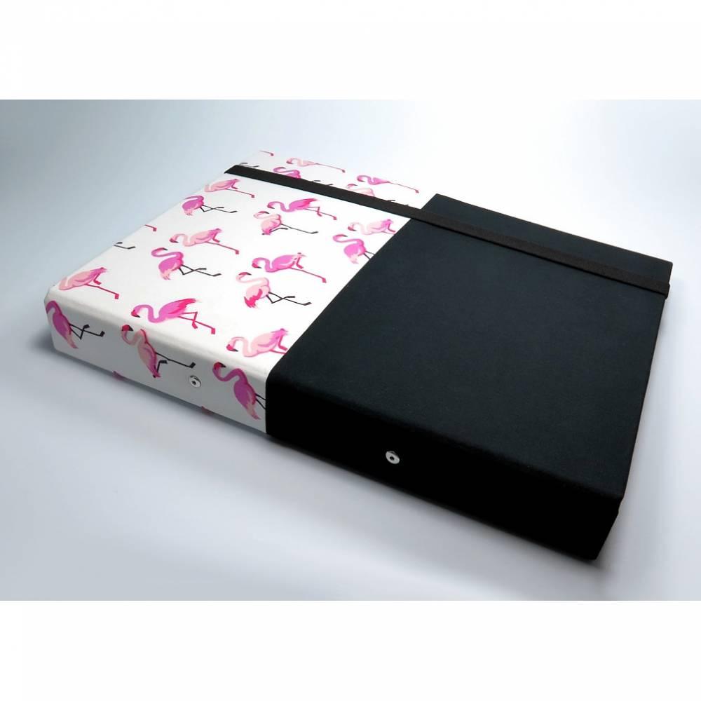 Organizer DIN A4 Schreibmappe Ordner Ringbuchordner Ringbuch Flamingo dots Filz vegan schwarz weiß B-Ware Bild 1