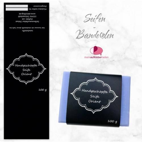 8 Seifenbanderolen: Orient schwarz silber - personalisierbar | mit transparente Klebepunkte