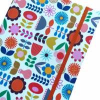 """Notizbuch Tagebuch """"Sweet Retro Flowers"""" A5 Hardcover stoffbezogen Stoff Blumen Retro Retrofan Geschenk Geschenkidee Geschenkartikel Fanartikel Bild 1"""