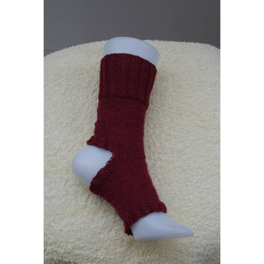 Pilates Yoga Socken ohne Ferse und Spitze, Sockenwolle bordeaux Bild 1
