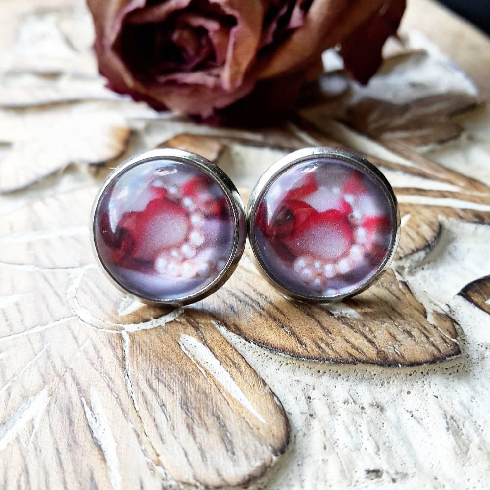 Ohrringe und Ringe rote Rosen mit Perlen Cabochon Schmuck verschiedene Variationen Blumen Bild 1