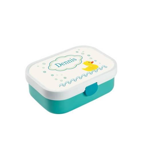 Brotdose mit Namen, Brotdose/Lunchbox für Jungen mit Obsteinsatz und Gabel, Motiv Ente