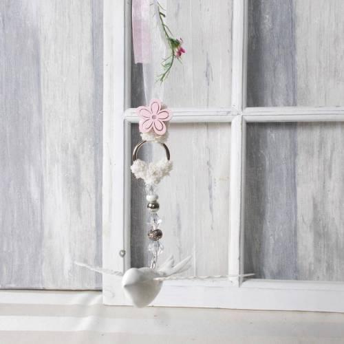 Fensterdeko, Hänger, Vogel mit Blüten-Girlande, Türkranz