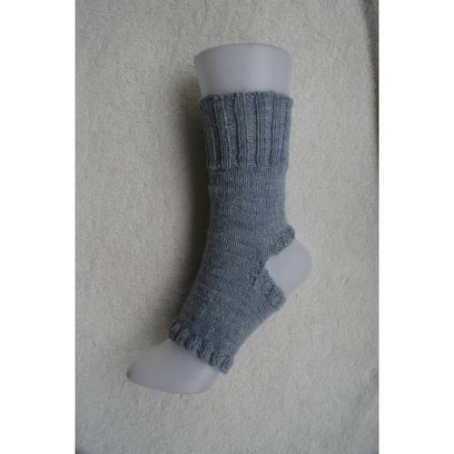 Pilates Yoga Socken ohne Ferse und Spitze, Sockenwolle hellgrau