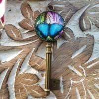 Anhänger Schlüssel Cabochon 20mm bunter Schmetterling Bild 1