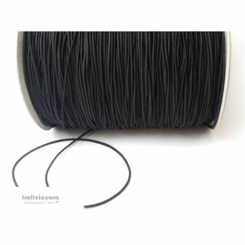 2 m Gummikordel - 2 mm - schwarz -  rund, Gummiband, Elastikband