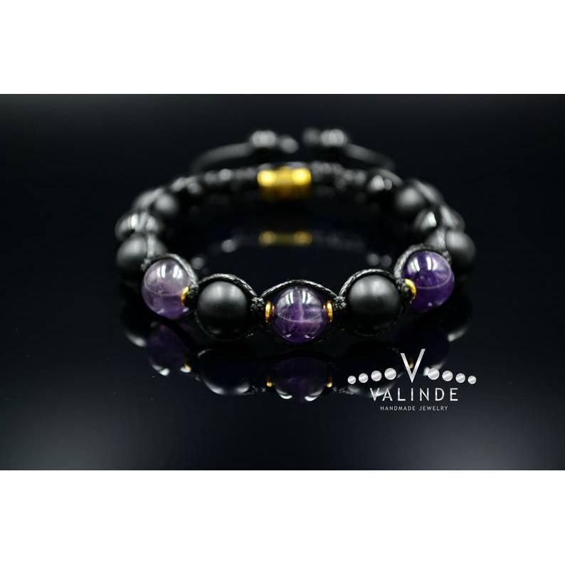 Herren Armband aus Edelsteinen Amethyst Onyx und Achat mit Knotenverschluss, Makramee Armband, Geschenk für Mann, 10 mm Bild 1
