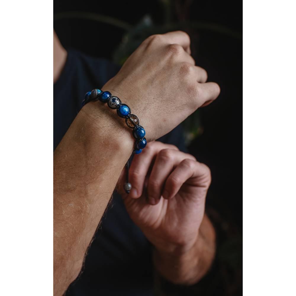 Herren Armband aus Edelsteinen Kyanit Labradorit Rauchquarz 925 Silber, Geschenk für Mann, LIMITED EDITION, 10 mm Bild 1