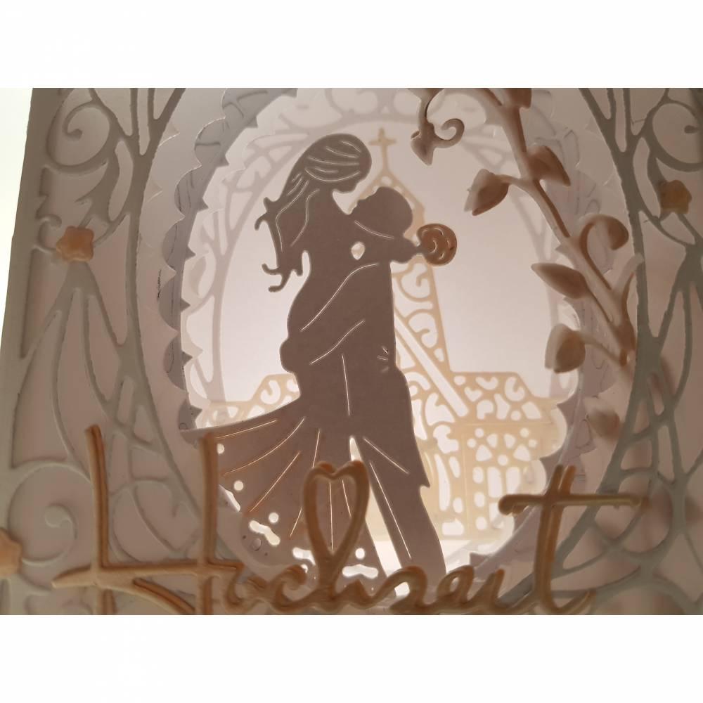 Hochzeitskarte Dioramakarte weiß lachs edel elegant Geldgeschenk Stellkarte Grußkarte Hochzeit  Bild 1