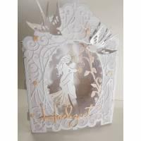 Hochzeitskarte Dioramakarte weiß lachs edel elegant Geldgeschenk Stellkarte Grußkarte Hochzeit  Bild 2