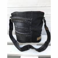 dunkelgraue Umhängetasche / Schultertasche / Beuteltasche | Jeans Upcycling / Recycling, AichelBag
