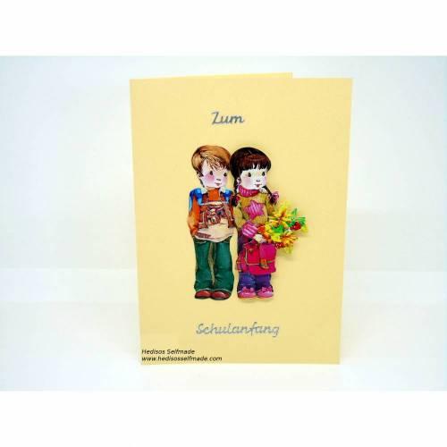 Glückwunschkarte #Schuleinführung #Junge #Mädchen #3-D