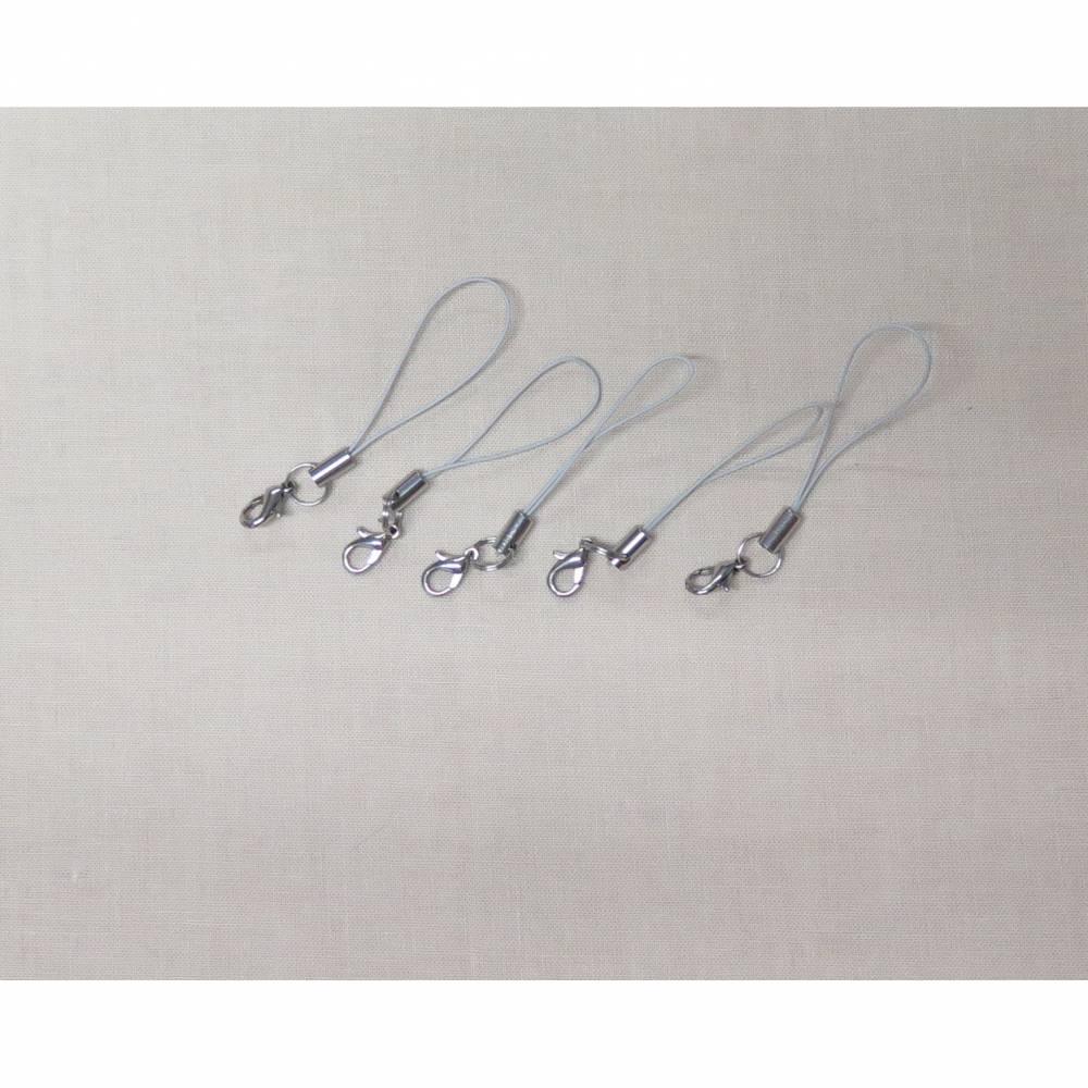 5 / 10 / 15 / 20 Stück Handyschlaufen, Handyanhänger, Lanyard silber mit Karabiner Bild 1