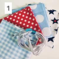 DIY Stoffpaket ROT BLAU für 4 Behelfs-Mund-Nasen-Maske inklusiv Gummiband Bild 1