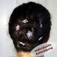 3er Set Haar- Nadeln Haarsterne Baumwolle Glaswachsperle Rocailles INDIVIDUELLE ANFERTIGUNG Bild 1