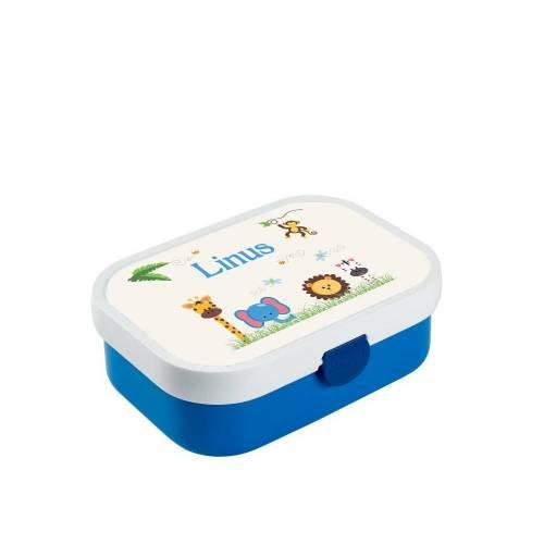 Brotdose mit Namen, Brotdose/Lunchbox für Jungen mit Obsteinsatz und Gabel, Motiv Zoo