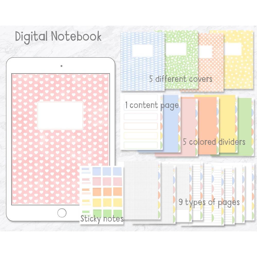 Digitales Notizbuch, Journal, Planer für Goodnotes, 5 Register, 5 Cover, passende Sticker Bild 1
