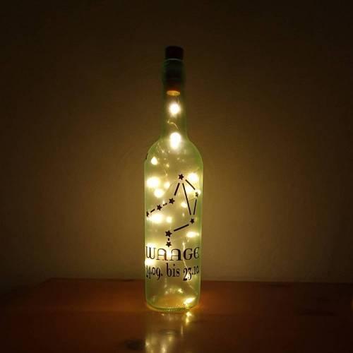 Dekoflasche Milchglas mit deinem Sternbild Sternzeichen