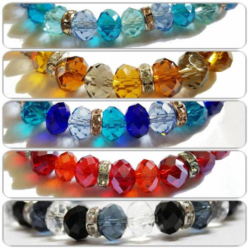 Armband aus Glasschliffperlen und Strassrondellen, Farbwahl