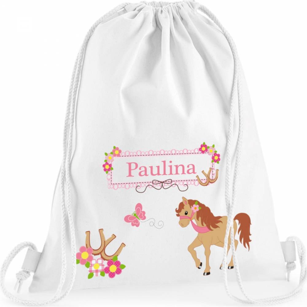 Turnbeutel, Sportbeutel mit Namen, Mädchen, Motiv Pony Bild 1