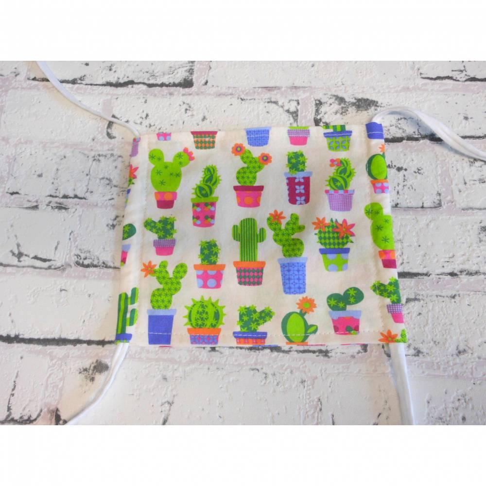 Behelfsmaske, wiederverwendbare Nasen-Mund Maske, Kakteen, Kaktus,  Bild 1
